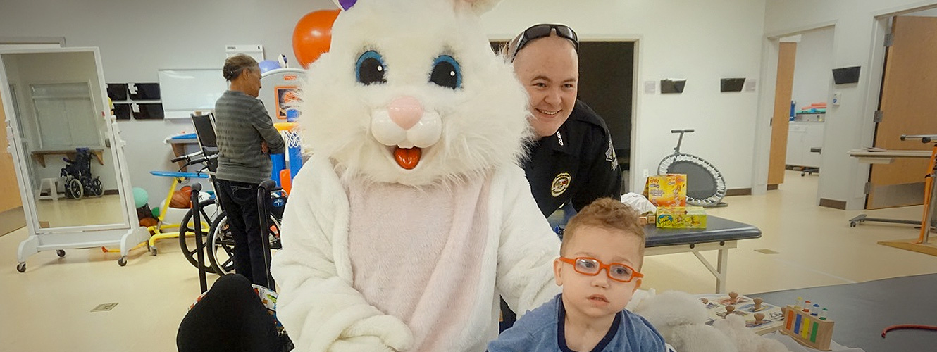 Easter Bunny visits with patients